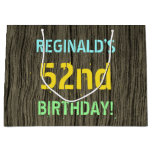 [ Thumbnail: Faux Wood, Painted Text Look, 52nd Birthday + Name Gift Bag ]
