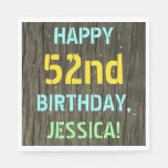 [ Thumbnail: Faux Wood, Painted Text Look, 52nd Birthday + Name Napkin ]