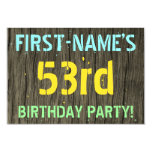 [ Thumbnail: Faux Wood, Painted Text Look, 53rd Birthday + Name Invitation ]