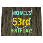 [ Thumbnail: Faux Wood, Painted Text Look, 53rd Birthday + Name Gift Bag ]