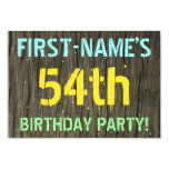 [ Thumbnail: Faux Wood, Painted Text Look, 54th Birthday + Name Invitation ]