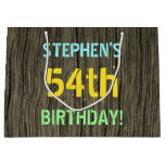 [ Thumbnail: Faux Wood, Painted Text Look, 54th Birthday + Name Gift Bag ]
