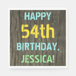 [ Thumbnail: Faux Wood, Painted Text Look, 54th Birthday + Name Napkin ]