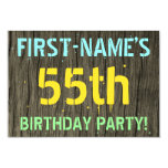 [ Thumbnail: Faux Wood, Painted Text Look, 55th Birthday + Name Invitation ]