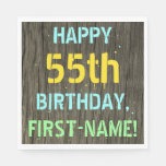 [ Thumbnail: Faux Wood, Painted Text Look, 55th Birthday + Name Napkin ]