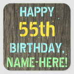 [ Thumbnail: Faux Wood, Painted Text Look, 55th Birthday + Name Sticker ]