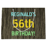 [ Thumbnail: Faux Wood, Painted Text Look, 56th Birthday + Name Gift Bag ]