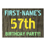 [ Thumbnail: Faux Wood, Painted Text Look, 57th Birthday + Name Invitation ]