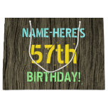 [ Thumbnail: Faux Wood, Painted Text Look, 57th Birthday + Name Gift Bag ]