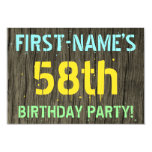 [ Thumbnail: Faux Wood, Painted Text Look, 58th Birthday + Name Invitation ]
