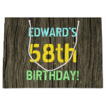[ Thumbnail: Faux Wood, Painted Text Look, 58th Birthday + Name Gift Bag ]