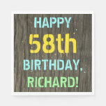 [ Thumbnail: Faux Wood, Painted Text Look, 58th Birthday + Name Napkin ]