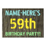 [ Thumbnail: Faux Wood, Painted Text Look, 59th Birthday + Name Invitation ]