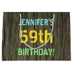 [ Thumbnail: Faux Wood, Painted Text Look, 59th Birthday + Name Gift Bag ]