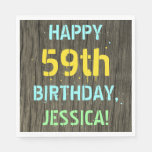 [ Thumbnail: Faux Wood, Painted Text Look, 59th Birthday + Name Napkin ]