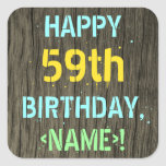 [ Thumbnail: Faux Wood, Painted Text Look, 59th Birthday + Name Sticker ]