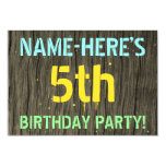 [ Thumbnail: Faux Wood, Painted Text Look, 5th Birthday + Name Invitation ]