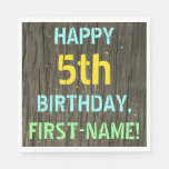 [ Thumbnail: Faux Wood, Painted Text Look, 5th Birthday + Name Napkin ]