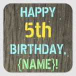[ Thumbnail: Faux Wood, Painted Text Look, 5th Birthday + Name Sticker ]