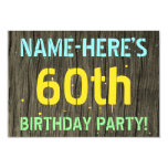 [ Thumbnail: Faux Wood, Painted Text Look, 60th Birthday + Name Invitation ]
