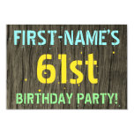 [ Thumbnail: Faux Wood, Painted Text Look, 61st Birthday + Name Invitation ]