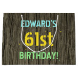 [ Thumbnail: Faux Wood, Painted Text Look, 61st Birthday + Name Gift Bag ]
