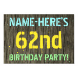 [ Thumbnail: Faux Wood, Painted Text Look, 62nd Birthday + Name Invitation ]