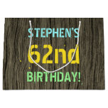 [ Thumbnail: Faux Wood, Painted Text Look, 62nd Birthday + Name Gift Bag ]