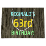 [ Thumbnail: Faux Wood, Painted Text Look, 63rd Birthday + Name Gift Bag ]