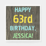 [ Thumbnail: Faux Wood, Painted Text Look, 63rd Birthday + Name Napkin ]