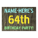 [ Thumbnail: Faux Wood, Painted Text Look, 64th Birthday + Name Invitation ]