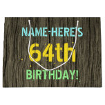 [ Thumbnail: Faux Wood, Painted Text Look, 64th Birthday + Name Gift Bag ]