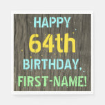 [ Thumbnail: Faux Wood, Painted Text Look, 64th Birthday + Name Napkin ]