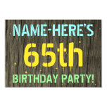[ Thumbnail: Faux Wood, Painted Text Look, 65th Birthday + Name Invitation ]