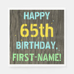 [ Thumbnail: Faux Wood, Painted Text Look, 65th Birthday + Name Napkin ]