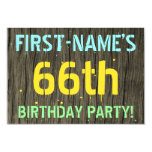 [ Thumbnail: Faux Wood, Painted Text Look, 66th Birthday + Name Invitation ]
