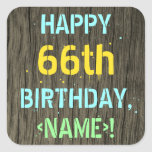 [ Thumbnail: Faux Wood, Painted Text Look, 66th Birthday + Name Sticker ]