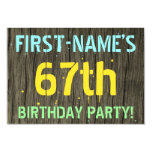 [ Thumbnail: Faux Wood, Painted Text Look, 67th Birthday + Name Invitation ]