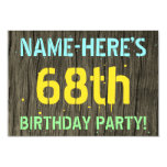 [ Thumbnail: Faux Wood, Painted Text Look, 68th Birthday + Name Invitation ]