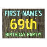 [ Thumbnail: Faux Wood, Painted Text Look, 69th Birthday + Name Invitation ]