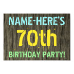 [ Thumbnail: Faux Wood, Painted Text Look, 70th Birthday + Name Invitation ]