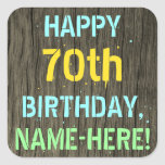 [ Thumbnail: Faux Wood, Painted Text Look, 70th Birthday + Name Sticker ]