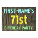 [ Thumbnail: Faux Wood, Painted Text Look, 71st Birthday + Name Invitation ]