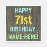[ Thumbnail: Faux Wood, Painted Text Look, 71st Birthday + Name Napkin ]
