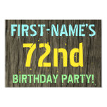 [ Thumbnail: Faux Wood, Painted Text Look, 72nd Birthday + Name Invitation ]