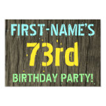 [ Thumbnail: Faux Wood, Painted Text Look, 73rd Birthday + Name Invitation ]