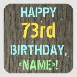 [ Thumbnail: Faux Wood, Painted Text Look, 73rd Birthday + Name Sticker ]