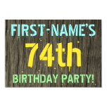 [ Thumbnail: Faux Wood, Painted Text Look, 74th Birthday + Name Invitation ]