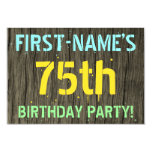 [ Thumbnail: Faux Wood, Painted Text Look, 75th Birthday + Name Invitation ]