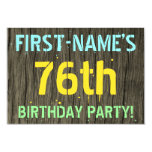 [ Thumbnail: Faux Wood, Painted Text Look, 76th Birthday + Name Invitation ]